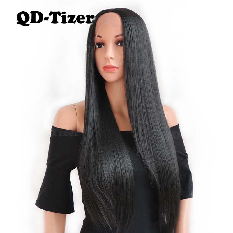 QD TIZER Long Black Synthetic Lace Front Wig Silky Striaght Glueless Heat Resistant Fiber Lace Front Wigs Natural Hairline-in Synthetic Lace Wigs from Hair Extensions & Wigs