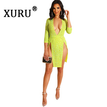 XURU Summer New Womens Bright Stripe Dress Deep V Split Hot Drill Nightclub Party Sexy