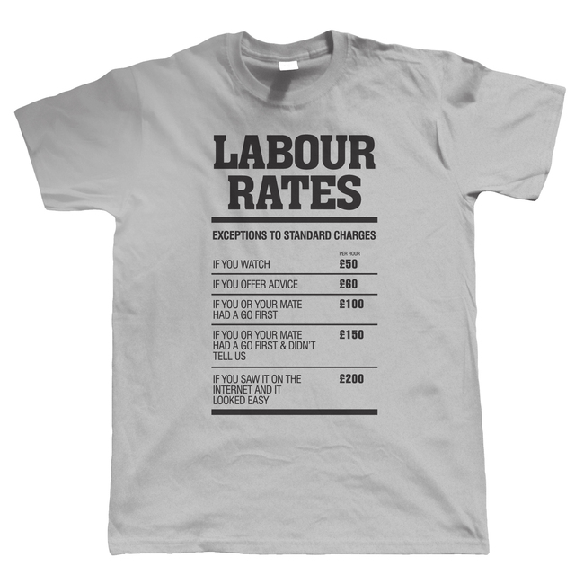 8e266e58a Labour Rates Mens Funny T Shirt - Gift for Mechanic Plumber Electrician  Builder Print T-Shirt Men Short Sleeve Top Tee