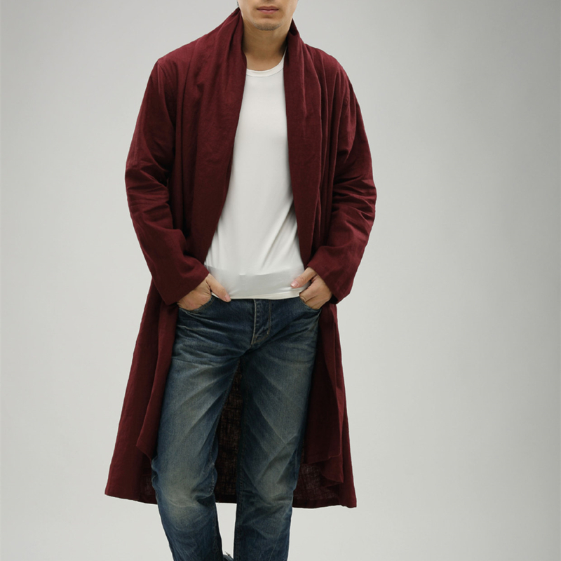 Spring Autumn Mens Cotton Linen Cardigan   Trench   Chinese Style Male Fashion Outerwear Windbreaker Casual Loose Long Coat A60613