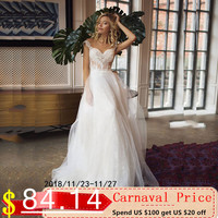 LORIE Boho Wedding Dresses Sweetheart Appliques A Line Lace inside Tulle Outside Button Back Princess Bride Dress Wedding Gown