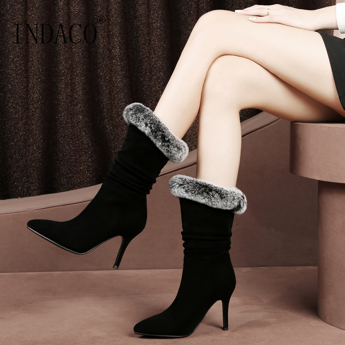 2018 NEW Fur Leather Boots Women High Heel Winter Boots Women Fashion Thigh High Boots Big Size 34-43 9.5cm/7cm