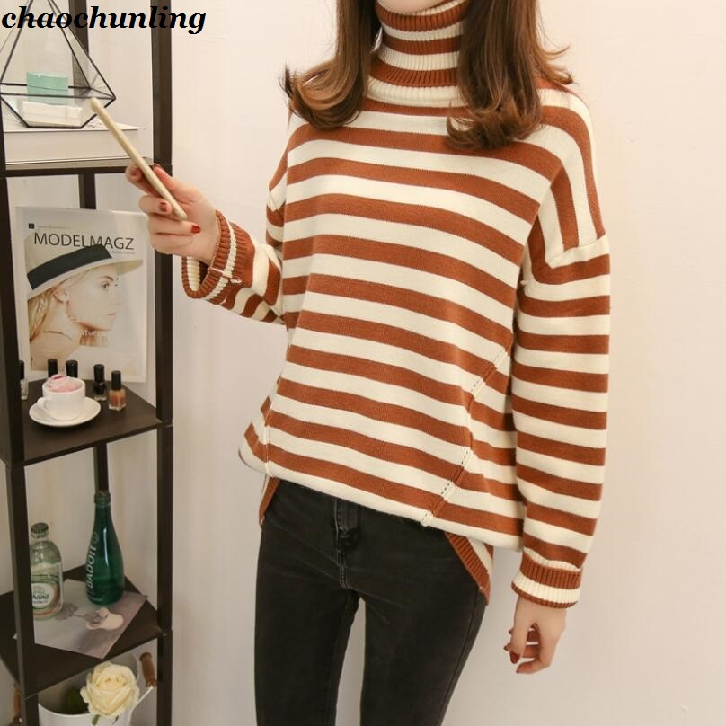 Europe and America 2018 New Lady Turtleneck Pullovers Long Sleeve Knit Mixed Color Sweater Women Striped Stitching Sweaters