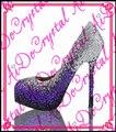 Aidocrystal фиолетовый и белый градиент Цвета Сексуальная 14 см Супер Высокий Каблук Женская Обувь Блестящий Кристалл Платформа Клуб Износа