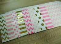 96 pcs Facebook aime Même Partie Fournitures Kraft Sac De Papier 5*7 pouces Chevron Polka Dot De Bonbons Papier Sac De Faveur De Mariage Cadeau décor