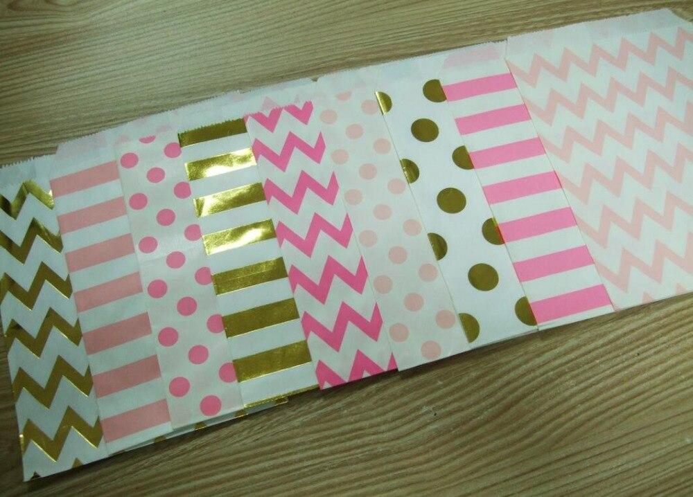 96 unids Facebook le gusta incluso fuentes del partido bolsa de papel Kraft 5*7 pulgadas Chevron Polka Dot bolsa de papel de caramelo regalo del favor de la boda decoración