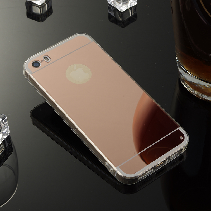 Rose Gold Phone Case For Apple iPhone 5 Mirror Case Soft TPU Back Cover Case For iPhone 5S SE Espelhada Cell Phone Shell Celular