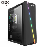 Aigo Flash PC Computer Gaming Case ATX Mid Tower USB 3.0 Ports Tempered Glass Windows Computer Case Chassis Free 120mm RGB Fans
