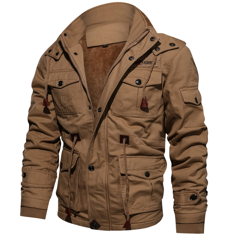 Winter Parkas Mens Casual Thick Warm Bomber Jacket Mens Outwear Fleece Hooded Multi pocket Tactical Military Jackets Overcoat|Parkas|   - AliExpress