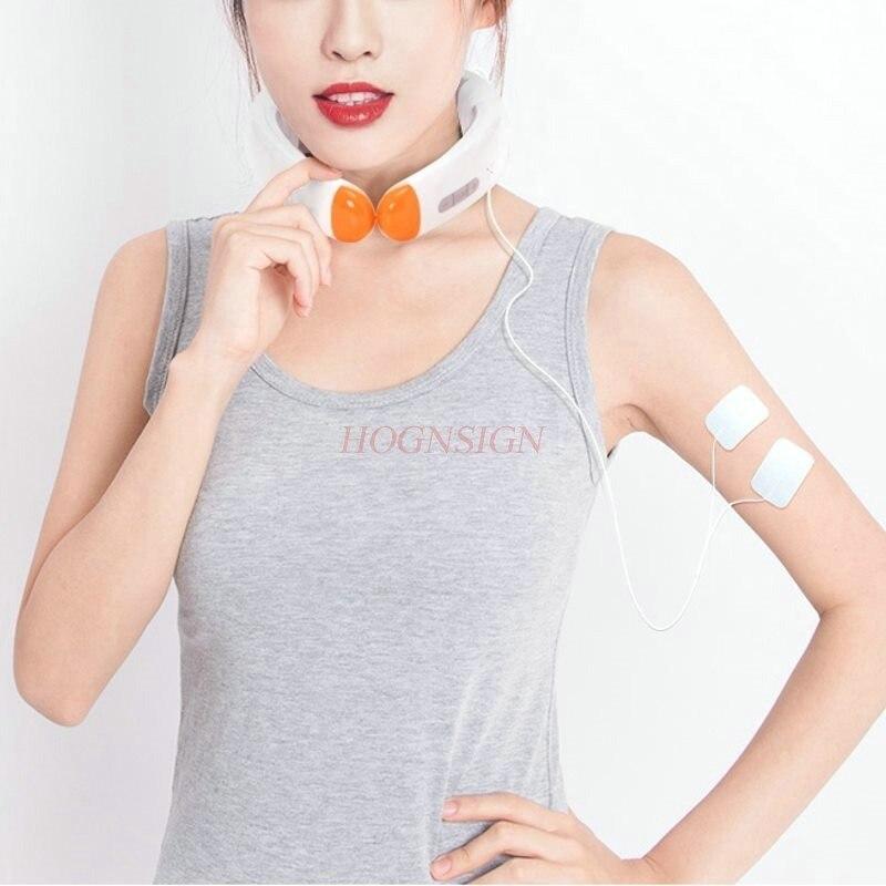 Cervical neck instrument teeth instrument intelligent shoulder neck electric massager home smart hot compress hot moxibustion rechargeable 4 mode neck shoulder massager w music pink