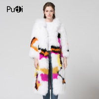 CT7048 women New Knitted real fox Fur Coat Full Sleeve genuine winter Fur long style fox Jacket with hooded