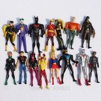 15Pcs/Set Super Hero Superman Green Lantern Batman Wonder Women PVC Action Figures Toys 10cm Great Gift