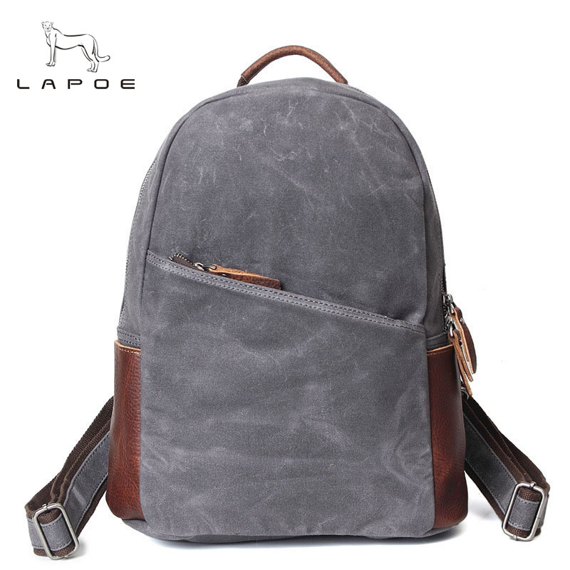 LAPOE Women And Man's Canvas Backpack Travel Schoolbag Male Backpack Men Large Capacity Rucksack Shoulder School Bag Mochila travel bag 3d print lion rivets back pack teenagers large capacity high quality pu schoolbag laptop backpack casual rucksack