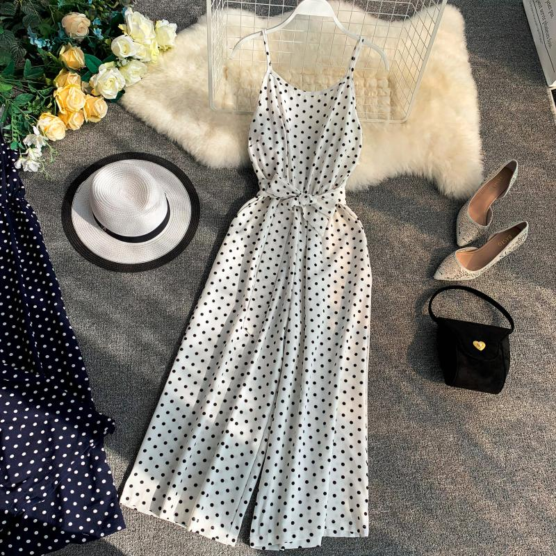 Holiday Retro Dot Print V Collar Sleeveless High Waist Broad-legged Overalls Beach Rompers Womens Jumpsuit E521 18