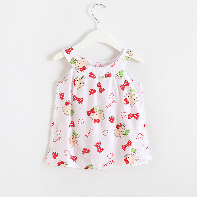 2019 Hot Summer Baby Girl Dress Sleeveless Floral Dress Small Fresh Sweet Style Kids Clothes 2-8 Years 5