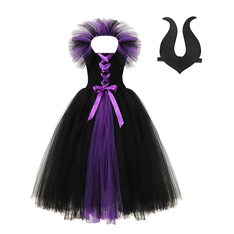 VOGUEON Deluxe Girl Sleeping Beauty Fairy Witch Tutu Dress With Horn Children Evil Queen Halloween Party Cosplay Costume Clothes