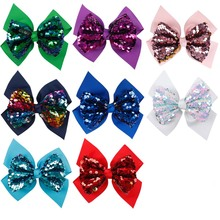 5 inches Hair Accessories Hair Bows for Girls Reversible Sequin Double Layers Solid Ribbon Bows Kids Hair Clips Hairpins цена
