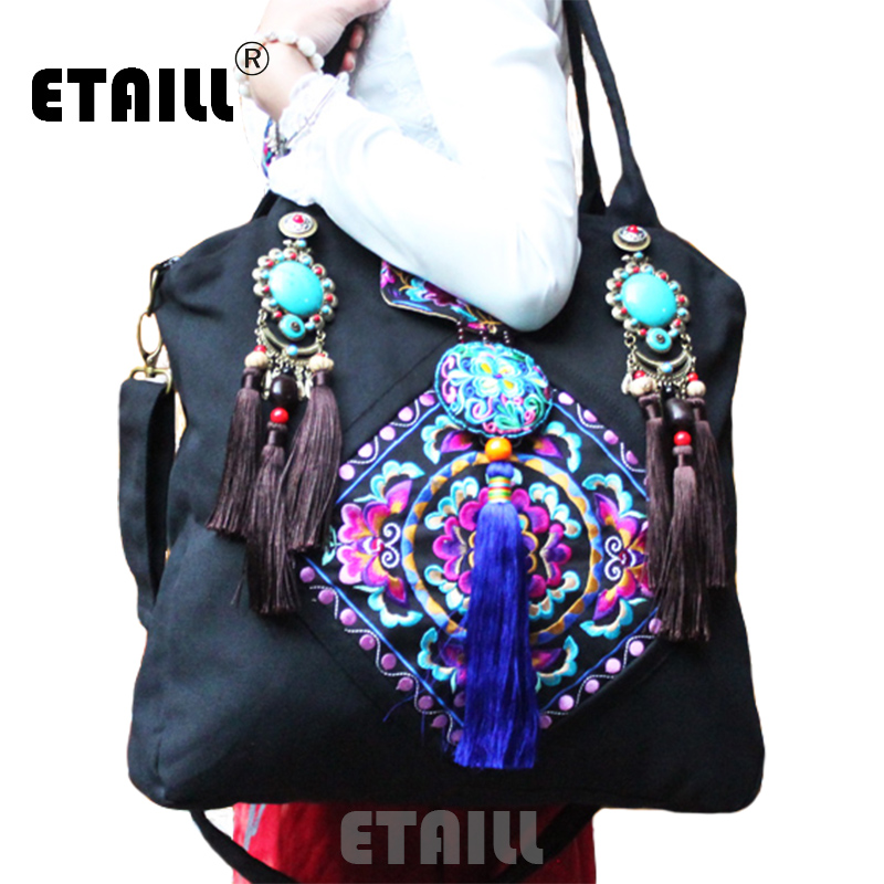 Chinese Brand Ladies Large Hmong Boho Flower Embroidery Bags Ethnic Crossbody Bag Embroidered Sequins Handbags Sac a Dos Femme free shipping vintage hmong tribal ethnic thai indian boho shoulder bag message bag pu leather handmade embroidery tapestry 1018