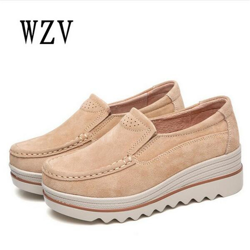 2018 Spring women flats shoes platform sneakers shoes   leather     suede   casual shoes slip on flats heels creepers moccasins B44
