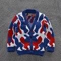 2015 nueva otoño invierno niños prendas de vestir exteriores niña niño Cardigan marca niños suéter 100% algodón manga larga chaquetas y abrigos
