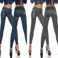 New Famous Autumn Winter Sexy Women Elastic Slim Skinny Blue Black Faux Jeans Pencil Jeggings Italy Design Bandage Trousers