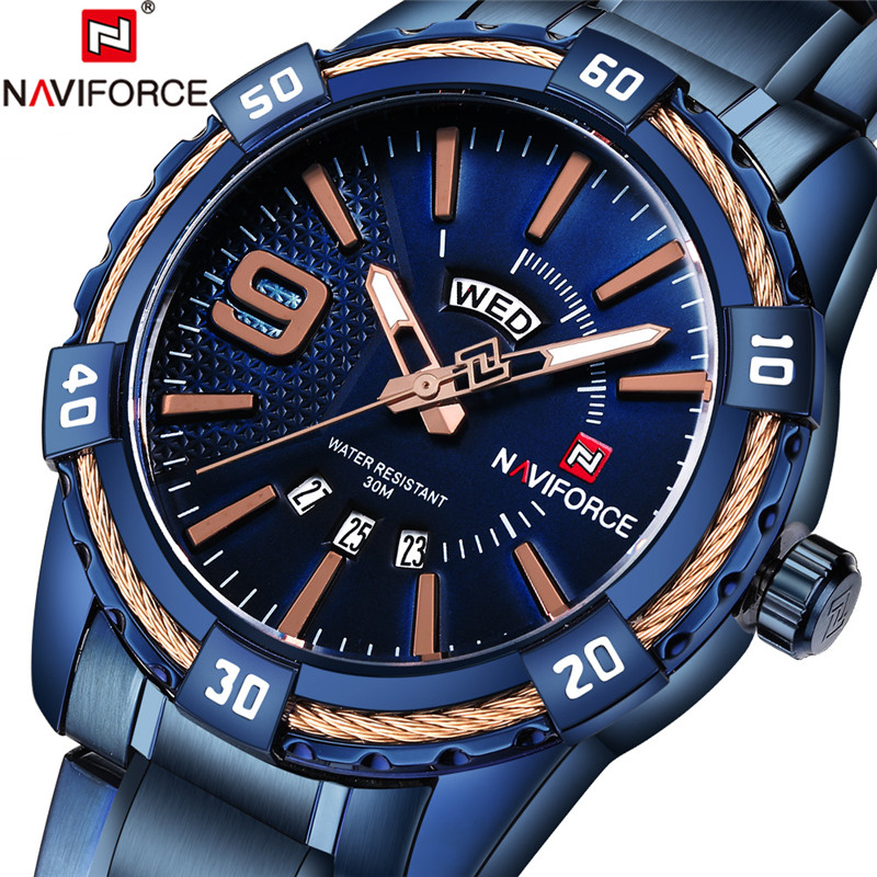 NAVIFORCE Men Watch Date Week Sport Mens Watches Top Brand Luxury Military Army Business Steel Band Wrist Quartz Male Clock 9117 2017 fashion men watches top brand luxury function date leather sport watch male business quartz wrist watch reloj hombre