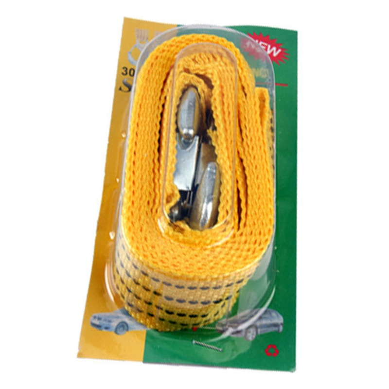 3 Tons 4 Meter Flsorescence Universal Car Tow Cable Towing Strap Rope Truck Pulling Rope With Wrought Iron Hooks