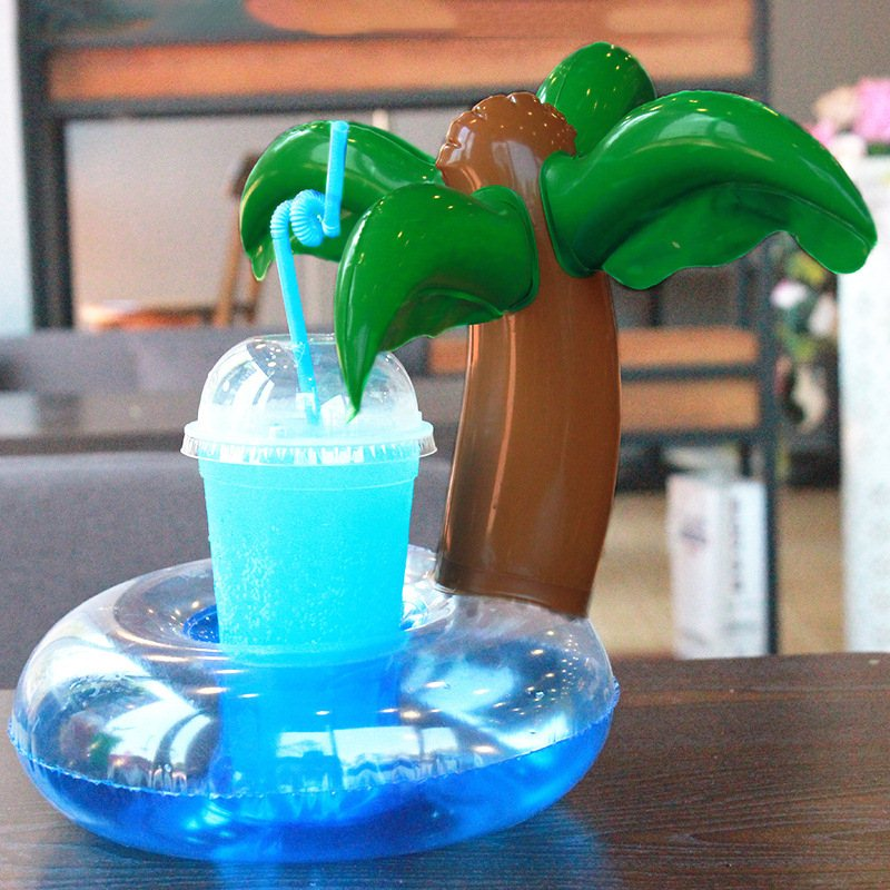 Pikaalafan Inflatable Coconut Tree Drink Cup Holder Seat Floats Inflatable Cup Drinks Boat Pool Hawaii Beach Party Supplies