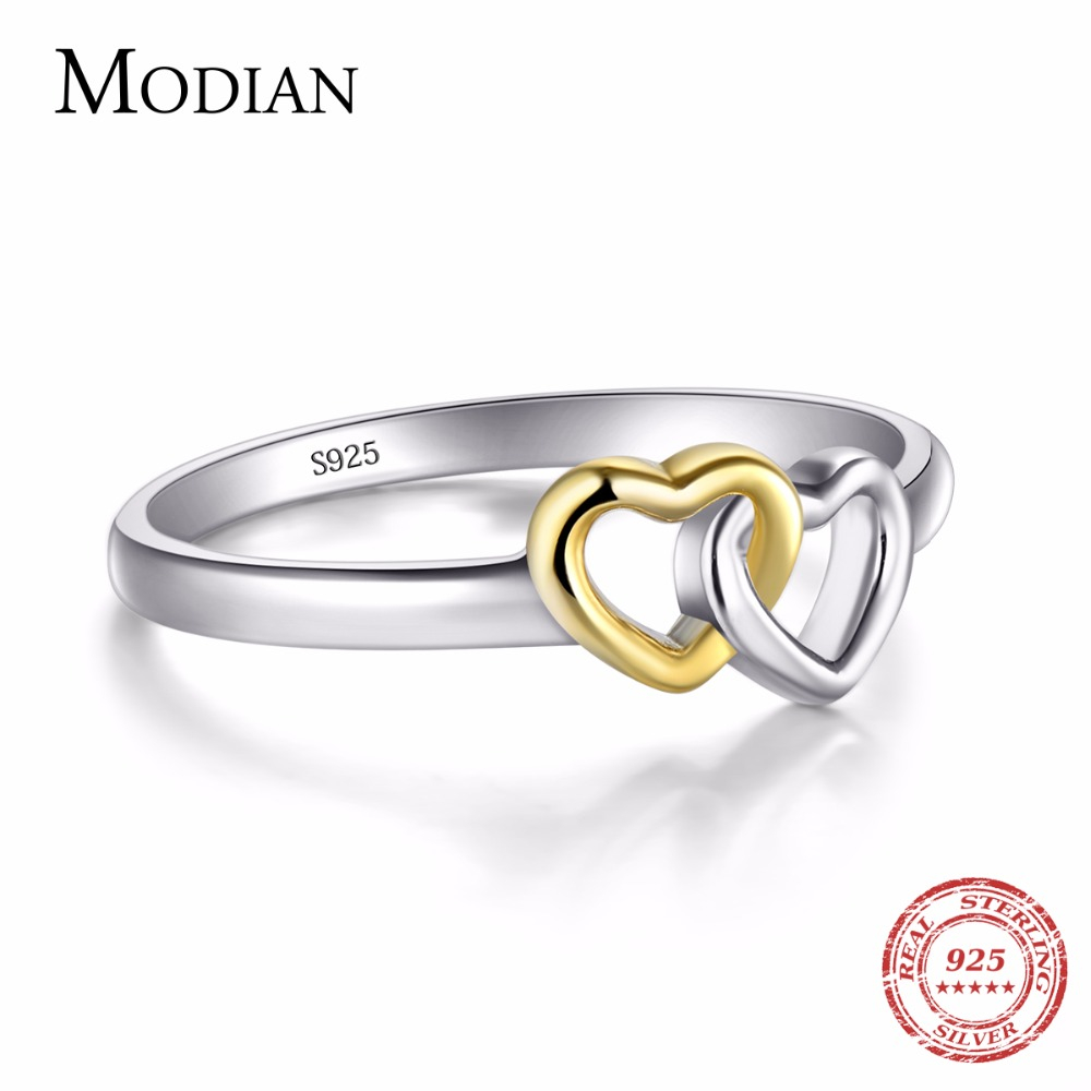 Modian 2018 Collection Summer Soild 925 sterling silver Heart Ring Bands New Jewelry Double Hearts silverringar för kvinnor
