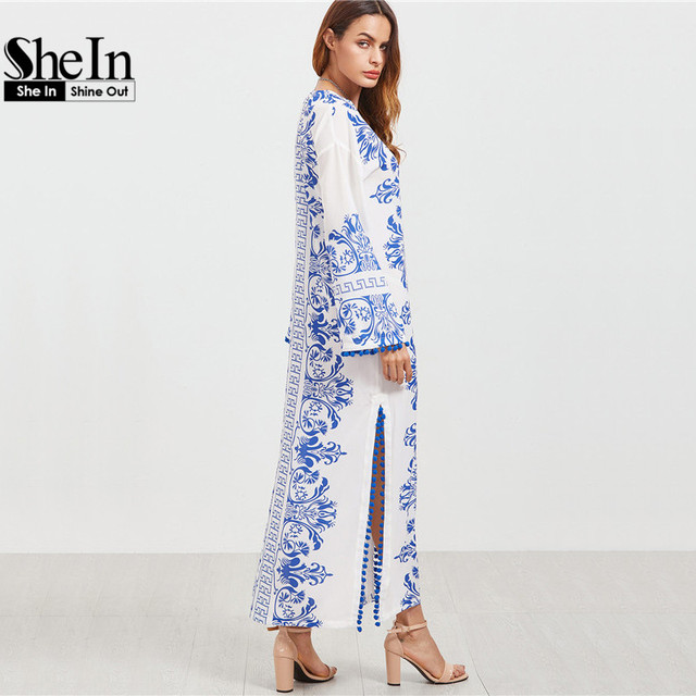 SheIn Ladies Spring Dresses 2017 Blue and White Vintage Print Boho Dress Deep V Neck Long Sleeve Pom-pom Trim Slit Maxi Dress