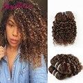Индийский Странный Вьющиеся Волосы 3pcs100g за шт Светло-Коричневый 7А Индийский Вьющиеся горячий продавать в aliexpress волосы необработанные Девственные волосы