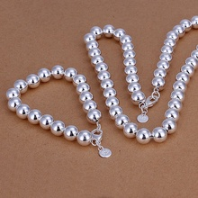 Silver plated refined luxury gorgeous fashion noble elegant prayer beads two piece sets hot selling wedding jewelry S151