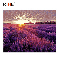 RIHE Purple Lavender Diy Painting By Numbers Flower Field Oil On Canvas Hand Painted Cuadros Decoracion Acrylic Paint