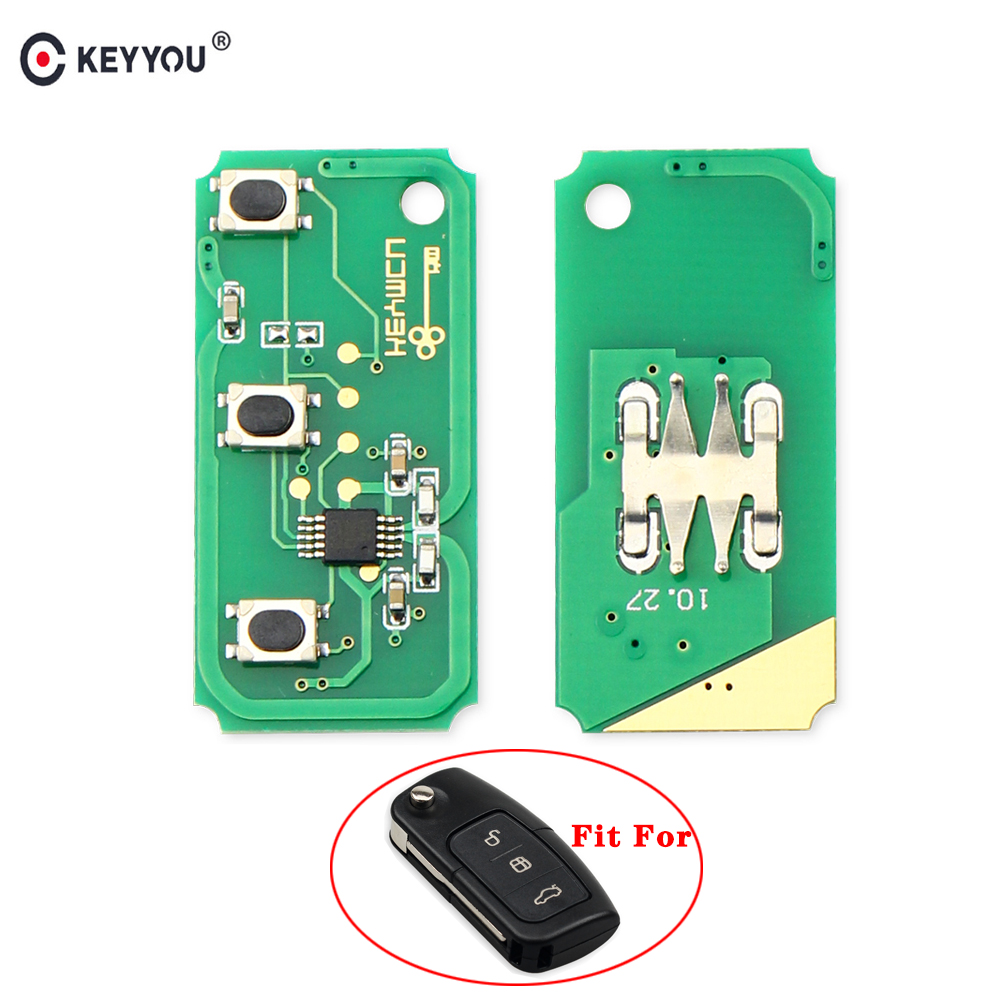 KEYYOU 433MHz 3 Buttons <font><b>Remote</b></font> <font><b>Key</b></font> Circuit Electronic Board <font><b>For</b></font> <font><b>Ford</b></font> <font><b>Focus</b></font> 2 3 Mondeo Fiesta C Max S Max Galaxy image