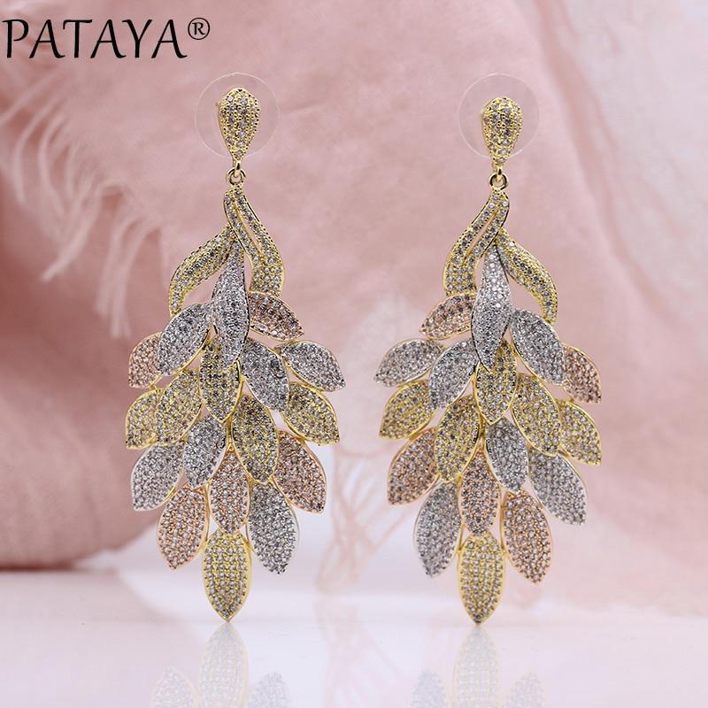 цена на PATAYA New Women Wedding Party Noble Luxury Jewelry 585 Rose Gold Micro-wax Inlay Natural Zircon Big Leaf Long Stud Earrings