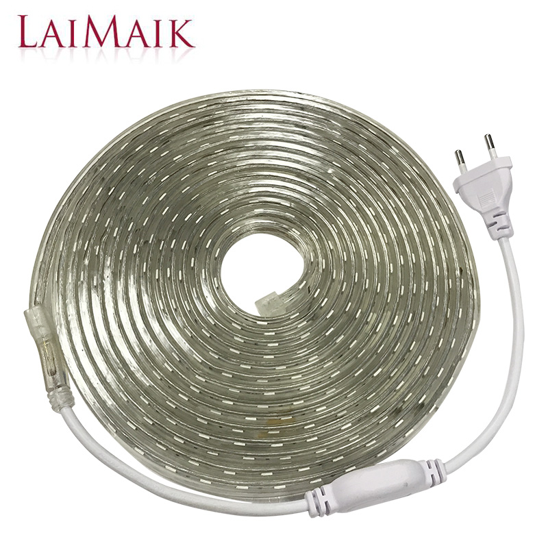 LAIMAIK LED Strip Light Waterproof Strip LED Light SMD5050 Led Tape AC 220V Flexible Led Strip 60Leds/M Lighting with EU Plug