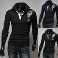 2014 New Brand Fashion Butterfly Embroidered Mens T-Shirt Slim Fit Long-sleeve Casual Men's Tee Clothes Hot Sales M-XXL