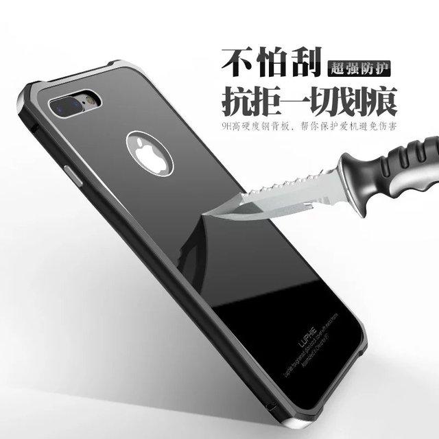 Роскошные Изогнутый Алюминиевый Металлический Каркас + 9 H Gorilla Закаленное Стекло Телефон Обложка Case Для Apple iPhone 7/7 Плюс