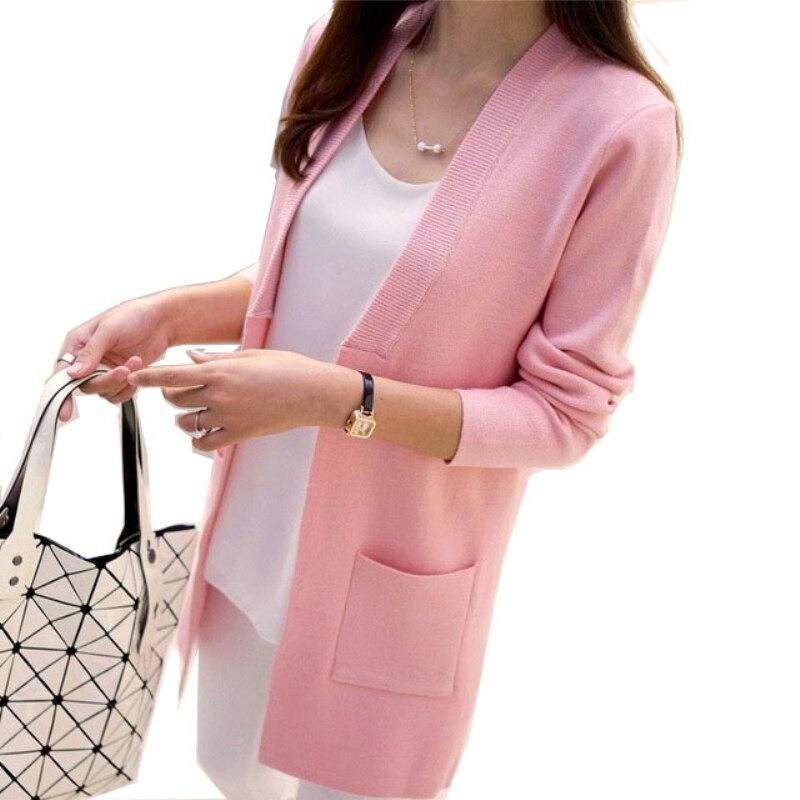OLGITUM New Women Spring/ Autumn  Sweater 2017 Long Cardigan Korean Slim Pocket Loose Knit Sweater Outwear Coat  SW522