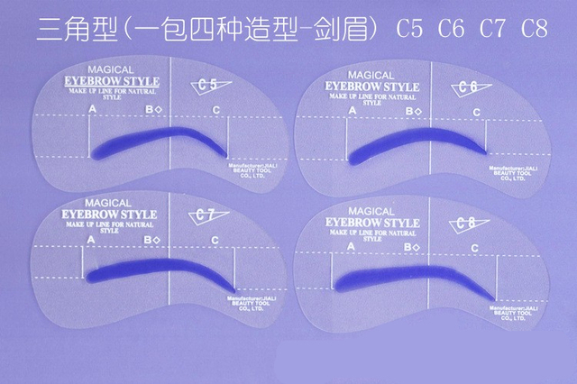 8pcs C Styles Brow Painted Eyebrow Pencil Stencils Model Template Stencil for Eye Eyebrow 2