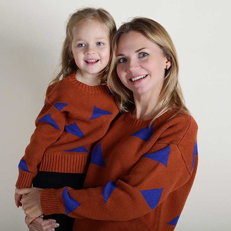 Mum Daughter Autumn Warm Sweaters Family Matching Outfits Mother Kids Knit Shirts Mother Son Girls Boy Baby Bebe Toddler