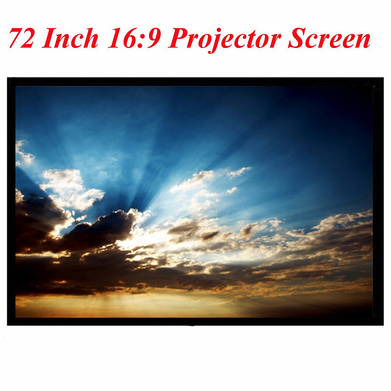 Portable Projector Accessory 72 Inch 16:9 PVC Fabric Matte Projection Screen 3D HD Wall Mounted LED Screen Canvas For Theater Projector Accessories     - title=