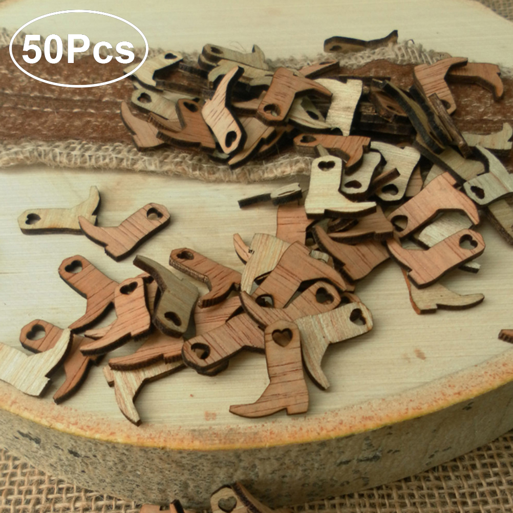 50pcs Miniature Wooden Cowboy Boots Embellishments Crafts for Wedding Party  Decoration minim wooden cowboy boots 4c0439c3796f