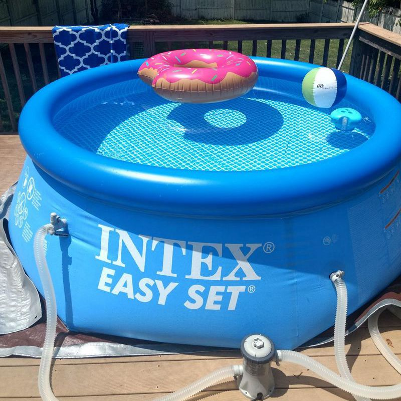 No Pump Intex 8ft x 30in Easy Set Inflatable Above Ground Family Swimming Pool