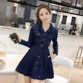 TUHAO 2018 Spring Women Blue Dress Slash Elegant Pocket Button Defined jean HIGH street Cowboy womens denim Dresses MS34
