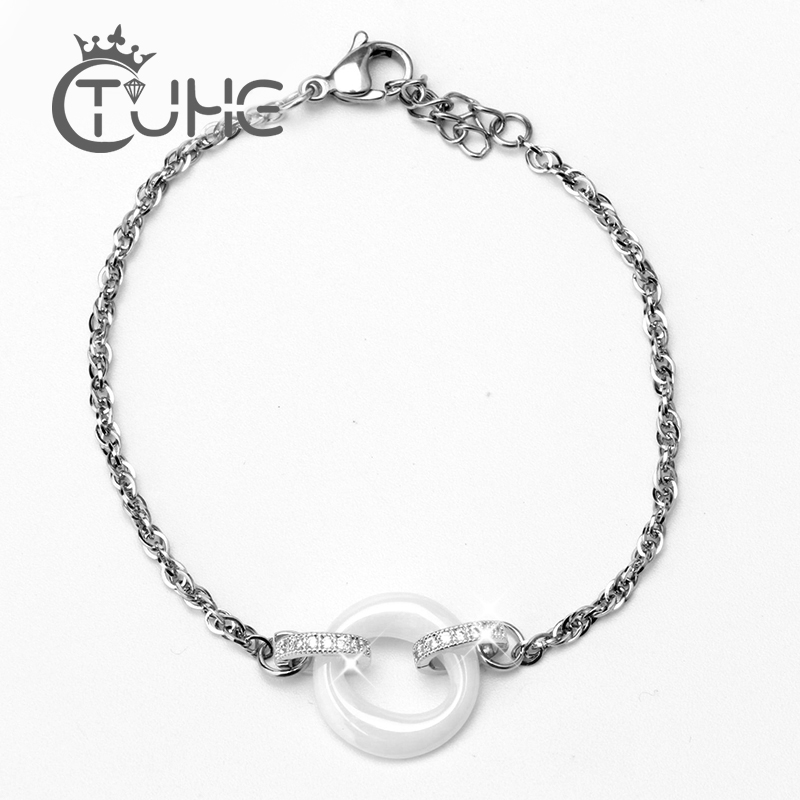 2019 New Arrival Ceramic Bracelet Women Silver Stainless Steel Bracelet White Round Rhinestone Crystal Bangle For Women Jewelry