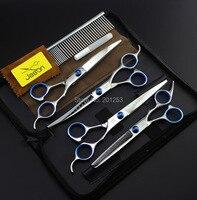 Cheaper 7 0Inch 4Pcs Set JP440C Jason Pet Grooming Scissors Silver Dog Shears Big Straight Thinning