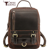 Men Genuine Leather Travel School Laptop 13 Small Backpack Bookbag Bags Anti Theft Crazy Horse Leather Bagpack Backpacks