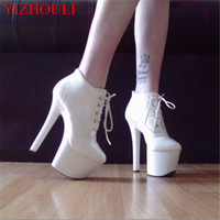 Drop Shipping 2015 Newest Design Platform Sexy 20cm Ultra High Heels Closed Toe Boots Black Sole