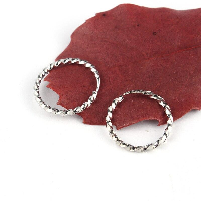 15mm Tibetischen Kleine Hoop Ohrring Für Frauen Ethnische Silber Farbe Endless Kreis Ohrringe Frauen Handmade Bijoux Modeschmuck E47